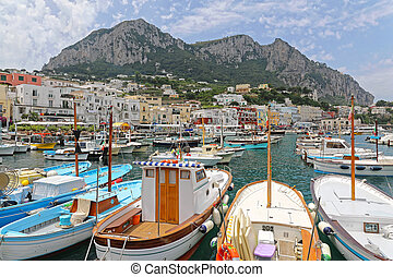 Capri - Marina Grande Port and Mountains in Capri Italy