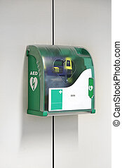 Automated External Defibrillator Emergency Device at Wall