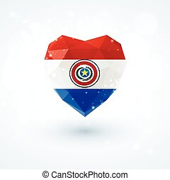 Flag of Paraguay in shape diamond glass heart. Triangulation...