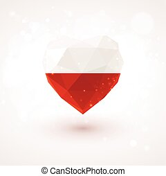 Flag of Poland in shape diamond glass heart. Triangulation style