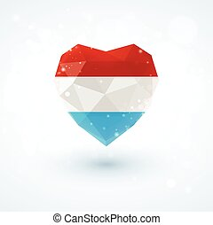 Flag of Luxembourg in shape diamond glass heart....