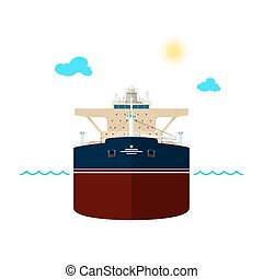 Oil Tanker on White Background - Front View of the Vessel,...