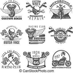 Motorcycle Black Emblem Set