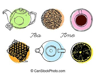Tea time concept. Hand drawn artistic vector illustration on...