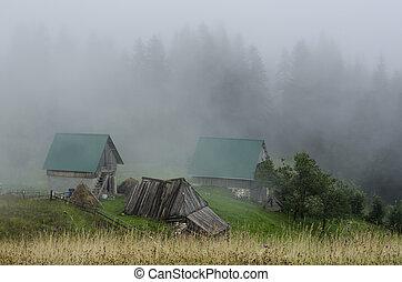 cottage in fog