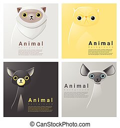 Animal portrait collection with cats 1