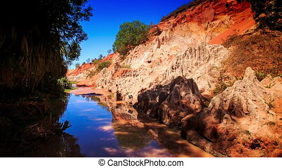 Fairy Stream Reflects Blue Sky Stony Speckled Bank - fairy...