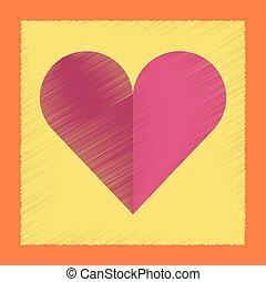 flat shading style icon Hearts suit - flat shading style...