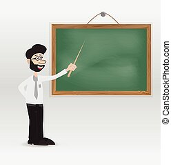 cartoon teacher with chalkboard