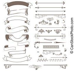 Vintage ribbons and design elements set