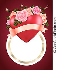 Heart with roses, ribbon and banner