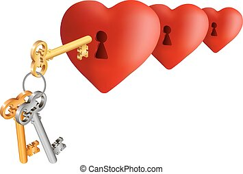 Hearts with keys - Illustration of hearts with keyholes and...