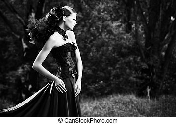 gothic lady - Magnificent brunette woman wearing long black...