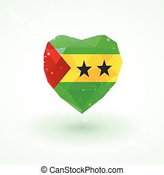 Flag of Sao Tome and Principe in shape diamond glass heart....