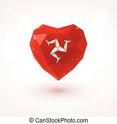 Isle of Man flag in shape diamond glass heart Triangulation...