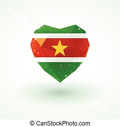 Flag of Suriname in shape diamond glass heart. Triangulation...