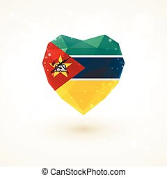 flag of Mozambique in shape diamond glass heart...