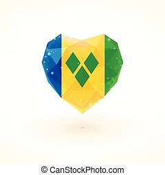 Flag of Saint Vincent and the Grenadines in shape diamond...