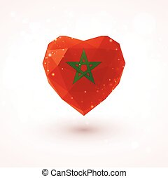 Flag of Morocco in shape diamond glass heart. Triangulation...