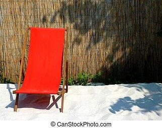 deckchair - red deckchair
