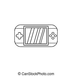 Mobile gaming console icon, outline style