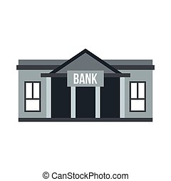 Bank icon, flat style - Bank icon in flat style isolated on...
