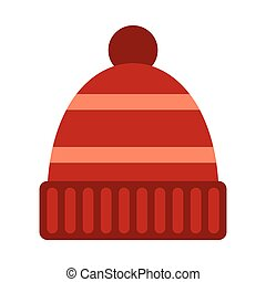 Winter hat icon, flat style - Winter hat icon in flat style...