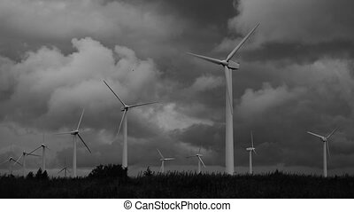 black and white wind energy turbine generation plant - black...