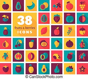 Set of Fruits and Berries icons. Vector illustration, eps 10