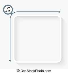 A text box with an symbol of music