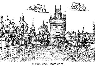 Old Prague Charles Bridge Sketch, Hand drawn vector isolated...