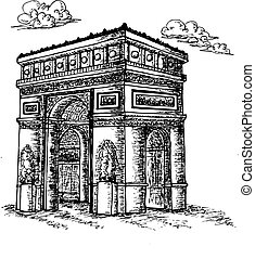 Sketch Triumphal Arch in Paris, France Vector illustration