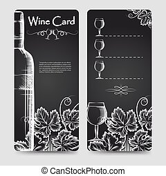 Wine card menu flyers template with hand drawn grapes...