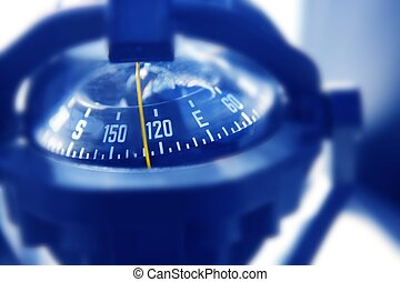 boat marine compass in black blue light backlight