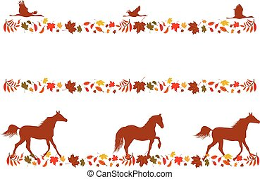 set autumnal borders - set of vector autumnal borders with...