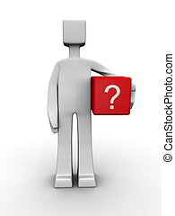 Question and problem concept - Man carrying a question mark...
