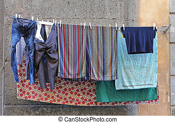 Clothes Line - Drying Laundry at Clothes Line in Italy