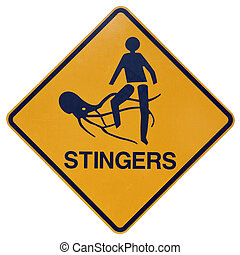 Marine stingers or jelly fish warning sign - A yellow and...
