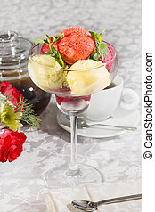 sorbet cold bright bowl berry glass fruit