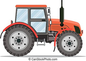Flat tractor on white background Red tractor icon - vector...
