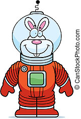 Rabbit Astronaut - A happy cartoon rabbit astronaut in a...