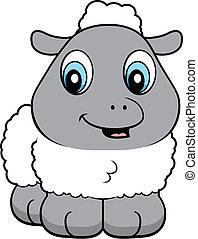 Baby Lamb - A cartoon baby lamb smiling and happy.