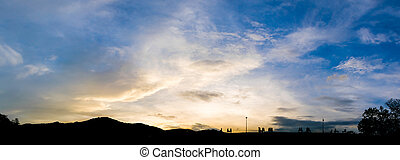 silhouette of people in sunset time