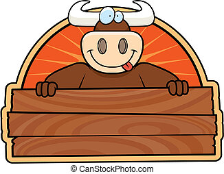 Bull Sign - A happy cartoon bull with a wooden sign.