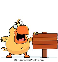Chicken Sign - A happy cartoon chicken standing next to a...