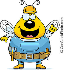 Worker Bee - A cartoon bee dressed in overalls and a tool...