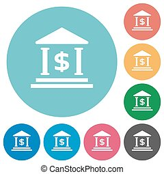 Flat Dollar bank icons - Flat Dollar bank icon set on round...