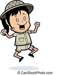 Explorer Jumping - A happy cartoon explorer jumping and...