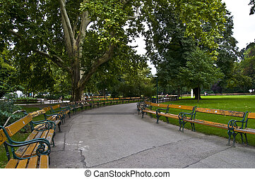 Benches - benches along the paths of a park in Vienna