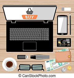 Workplace flat lay Online payment Internet shopping Vector...